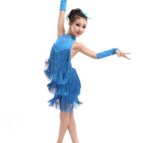 Vestido de baile latino Vestido de la borla de la muchacha del niño Salón de baile Salsa latina Danza Ropa del partido del traje del partido
