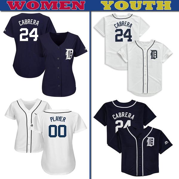 Detroit femmes jeunes en jersey personnalisés Tigers Miguel Cabrera Brandon Dixon Stewart Daniel Christin baseball Norris Daniel Stumpf Maillots