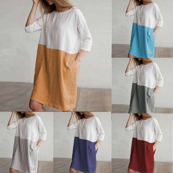 Plus Size Women Summer T-Shirt Dresses Three Quarter Sleeve TSkirts Vintage Linen Cotton Knee-Length Patchwork Loose Casual Dresses C43001