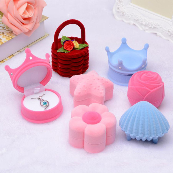 Luxury Shell Crown snowflake starfish Top hat Ice cream shape Jewelry Boxes For Necklace Rings Earrings Velvet Gift Packaging Display Case