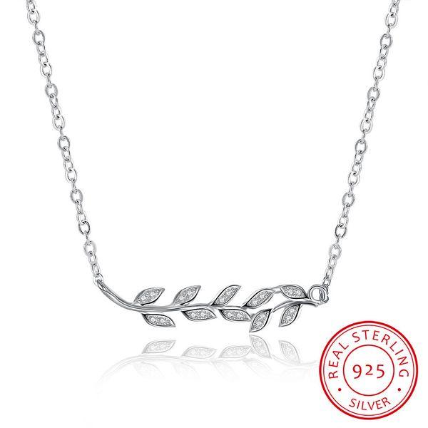 Kişiselleştirilmiş Şube Yaprak Kolye 925 Ayar Gümüş Kolye Kolye Doğum Günü Hediyesi Kız Arkadaşı için Güzel Takı Kadın için lüks tasarımcı