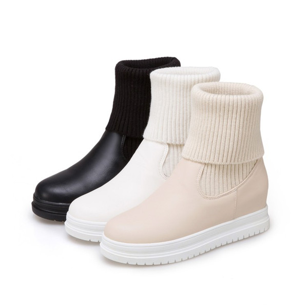 Eu 34-43 Plus Size Cute Women Warm Sweater Wedge Snow Boots Casual Slip-on Ankle Boots Winter Thicken Shoes 2018 New Beige,Black Wholesale