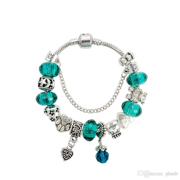 Green Crystal Charms Bracelet 925 Sterling Silver Heart Pendant Bracelets with Logo European Beads Jewelry for Women gift
