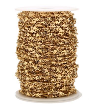 1 м из нержавеющей стали золотая звезда ручной работы звено цепи для женщин колье браслет ожерелье ювелирных изделий