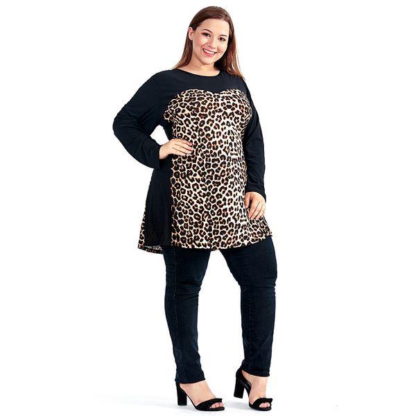 Women Plus Size Shift Dress Leopard Colorblock Big Size Woman Dress Spring Summer Tunic Slim Party Dress 5xl 6xl 7xl H102