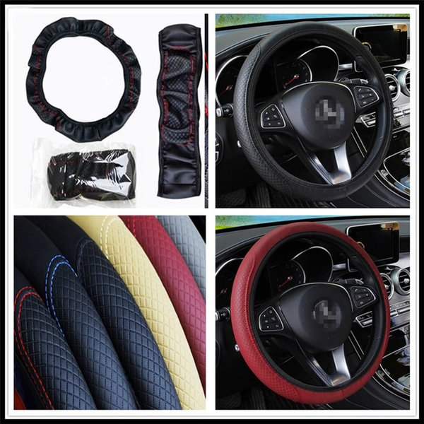 car 38cm auto Steering wheel Artificial Leather Braid Cover for 206 307 406 407 207 208 308 508 2008 3008 4008