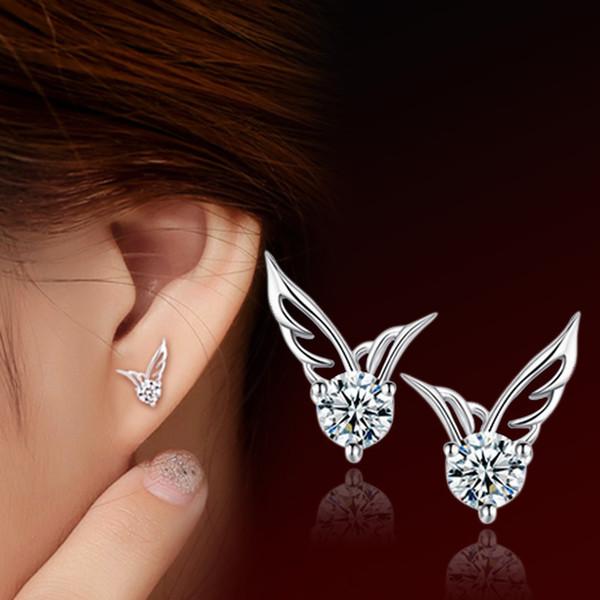 Fashion Austrian Crystal Angel Wings Shape Silver Plated Earrings High Quality Mini Stud Earrings for Woman Wedding Jewelry
