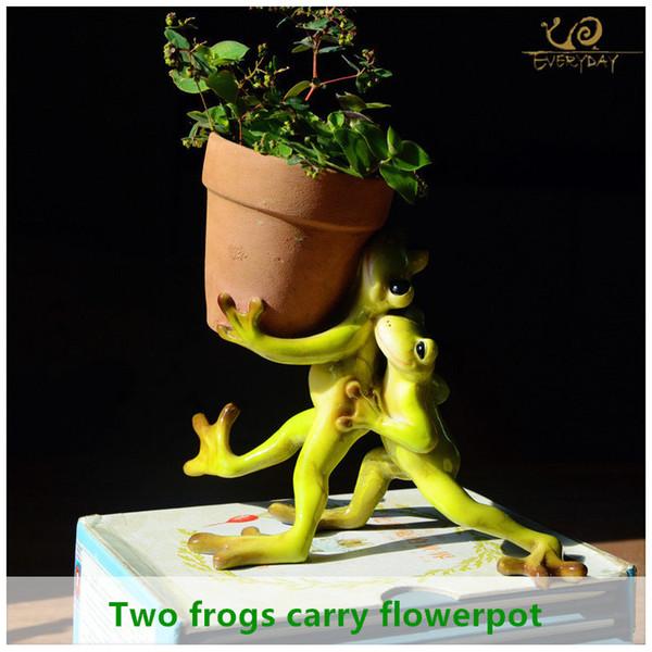 Ogni giorno Collection Home Decor Mini Flower Pot Fairy Garden animale Rana piatto succulento decorazione esterna Argilla Vaso di fiori T191016