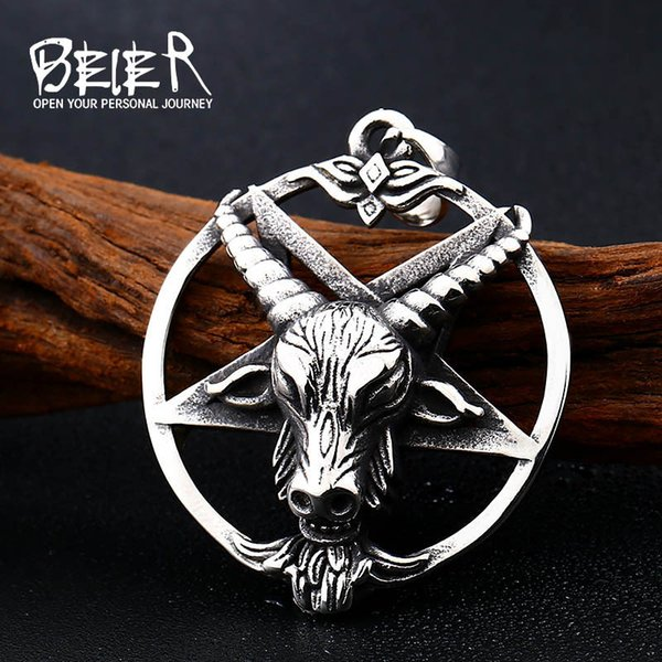 Beer Animal Modeling Men's Jewelry Wholesale Titanium Steel Men's Sheep Head Viking Exaggerates Stainless Steel Hanging Parts 342