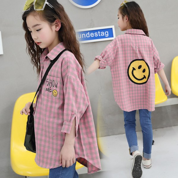 best selling baby clothes spring new girl loose children plaid teens long-sleeved thin casual shirt Y200704