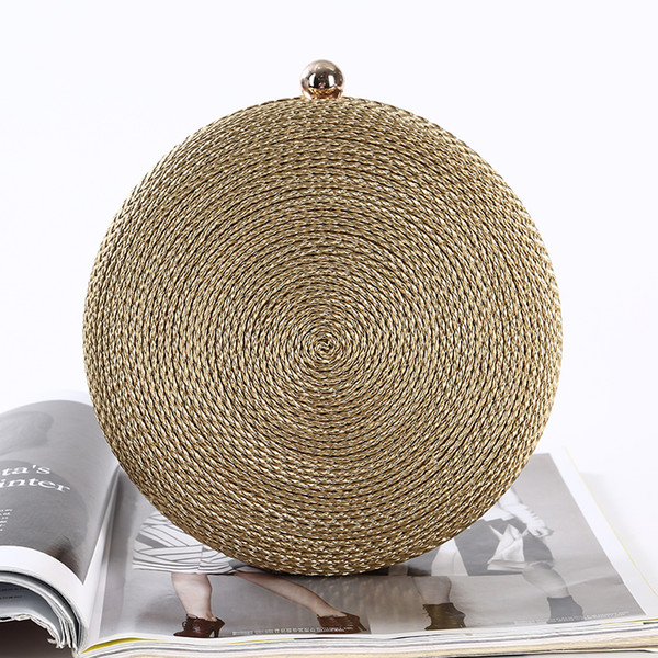 best selling Wholesale handmade pretty PU rope evening bag round shape clutch with satin for wedding banquet party porm brides maids(More colors)