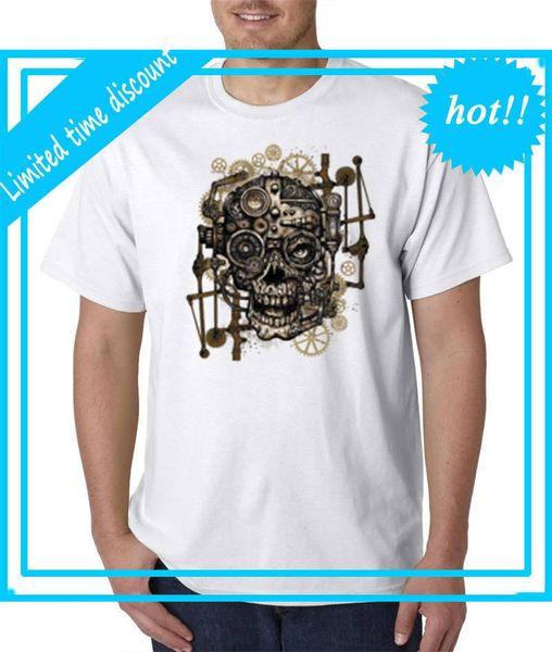 Mangas de algodón Envío gratuito Cuello redondo Cráneo Engranajes Hombres Compresión corta Camisetas
