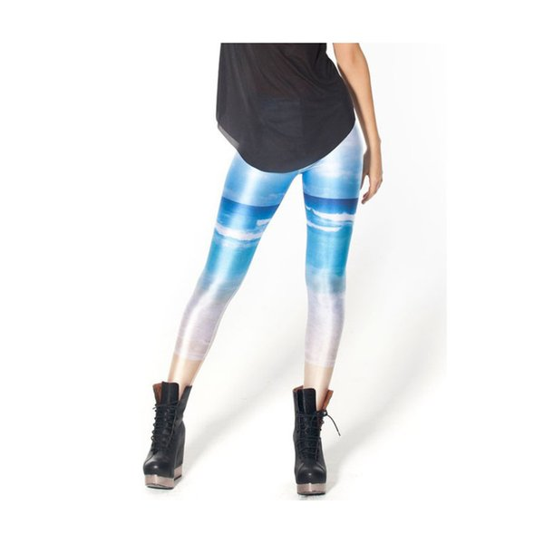 Woman Leggings Blue Sky White Cloud Beach 3D Digital Full Printed Sports Yoga Wear Pants Lady Casual Pencil Fit Girl Gym Trousers (YLgs3058)