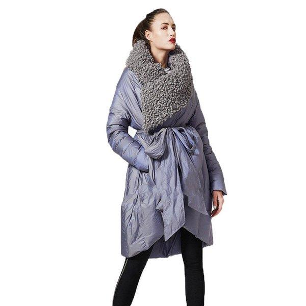 2de538f596 Vintage Lambswool Lapela Manto Para Baixo Casaco 2019 Novas Mulheres  Inverno Longo Capuz Com Cinto Pato