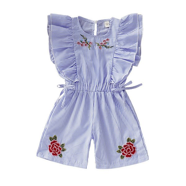 New Toddler Little Girls Flower Embroidery Blue White Stripes Overalls Jumpsuits Ruffled Pearl Back Open Waist Belt Bodysuits Onesies 1-6T