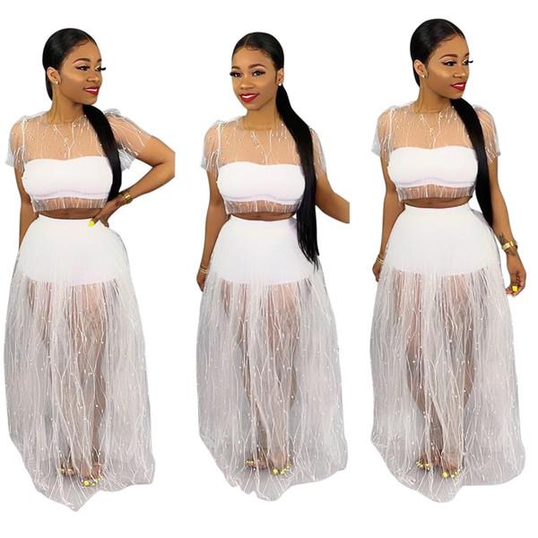 Compre 2019 Perlas De Malla Blanca Dos Piezas Mujeres Vestidos Informales Conjuntos Mangas Cortas Cuello Redondo Camiseta Corta Y Falda Hasta El Suelo