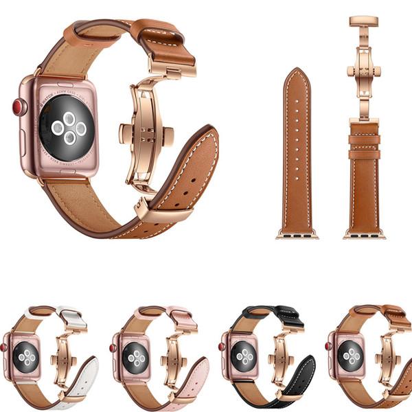 Cinturino in vera pelle per iWatch Apple Watch 38mm 40mm 42mm 44mm Serie 4/3/2/1 Band Butterfly Clasp Cinturino da polso Cintura
