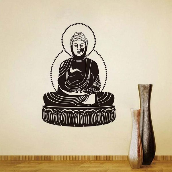1 Pcs Buddha Wall Decal Sticker Vinyl Art Buddhism Pattern Wall Stickers For Bedroom Home Decor Removable Adhesive