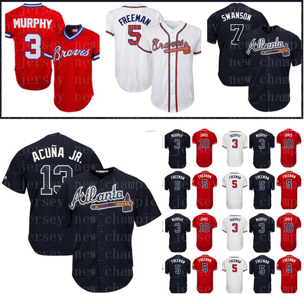 hot sales 36dba 51fd9 2019 Men'S Atlanta Braves Jersey 13 Ronald Acuna Jr. 5 Freddie Freeman 10  Chipper Jones 3 Dale Murphy 7 Dansby Swanson Baseball Jerseys From ...