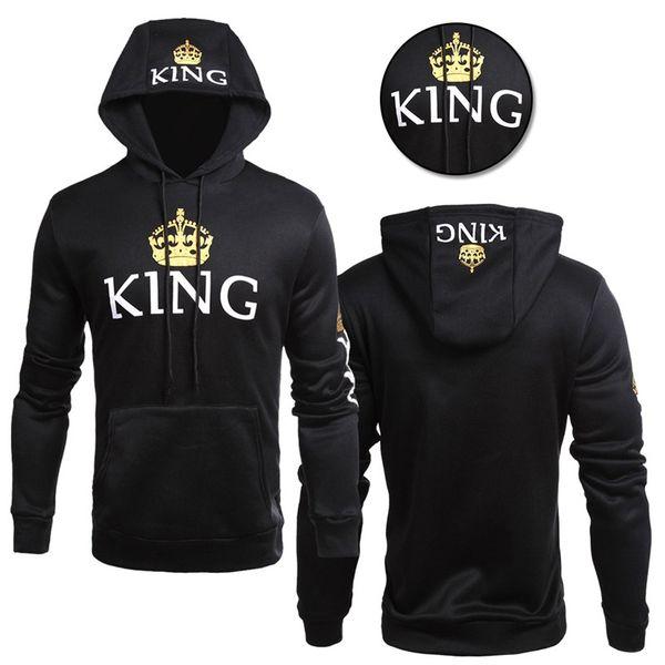 Мужская женская любовь Толстовки Пары Подходящая одежда Кофты Queen King Пуловеры с капюшоном