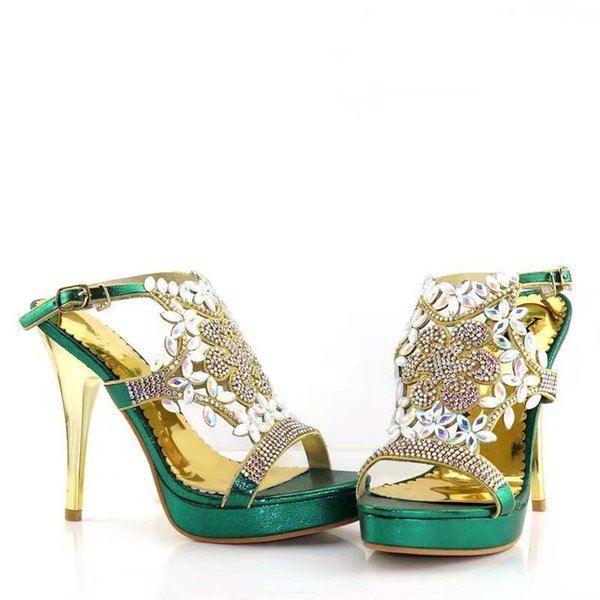 Whole sale green women pumps with rhinestone and big crystal decoration african high heel shoes for dress V999,heel 12.5CM