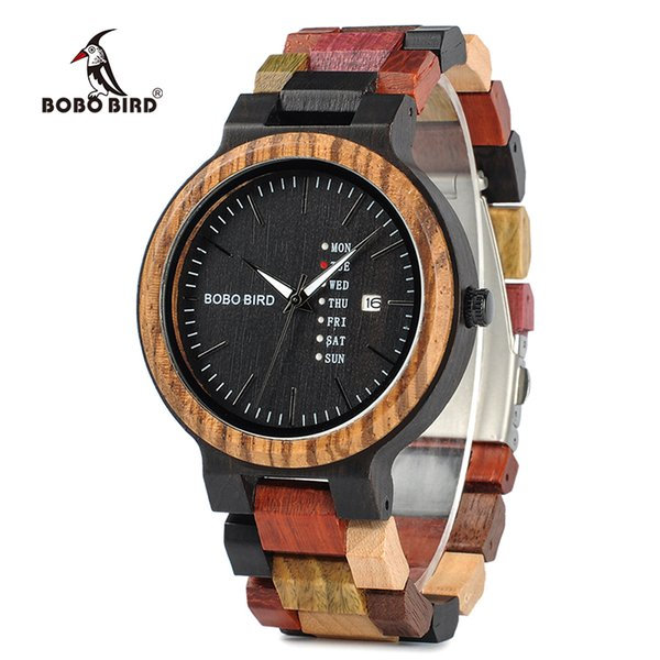 BOBO BIRD Relojes Hombres Reloj de madera de bambú Hombre relogio masculino Mostrar fecha Reloj de pulsera Regalo de cuarzo en caja de madera erkek kol saati
