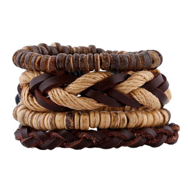 11 styles New Fashion 4pcs / set Bracelet en peau de vache tressé rétro coquille de noix de coco perlé multicouche bracelet en cuir bijoux pksp6-7