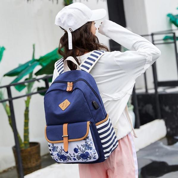 New Canvas Shoulder Bag Large Capacity Vintage Flower Printing Bookbags Leisure Plaid Laptop Backpack Outdoor Travel Backpack