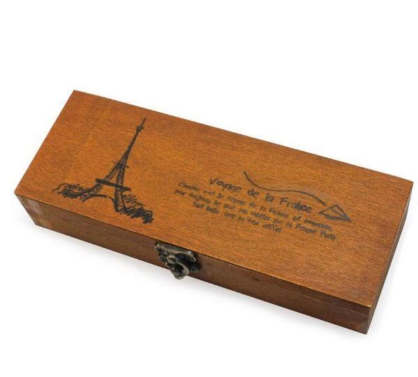 Retro Torre Eiffel Pluma Estuche de lápices Caja de almacenamiento de papelería Caja de madera nostálgica retro rectángulo de madera carier 19.5 * 7 * 4 cm
