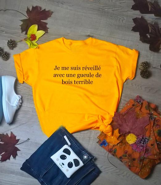 Mode Fille Coton Esthétique Grunge Tumblr Femme Tee Tops Nouvelle Arrivée Rue Style Français T-shirt Hungover Slogan Jaune Femmes