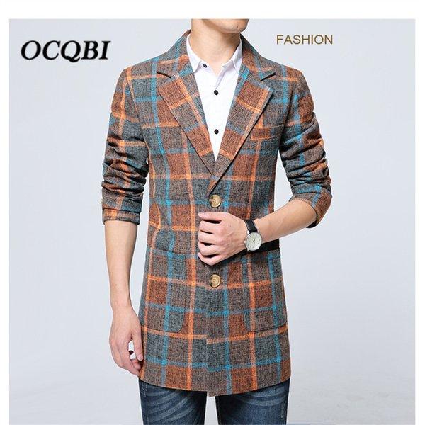 Плюс размер 6XL 2018 Корейский Стиль Plaid Мужские пальто Пальто зимы способа платья пальто Mens Casual Смарт