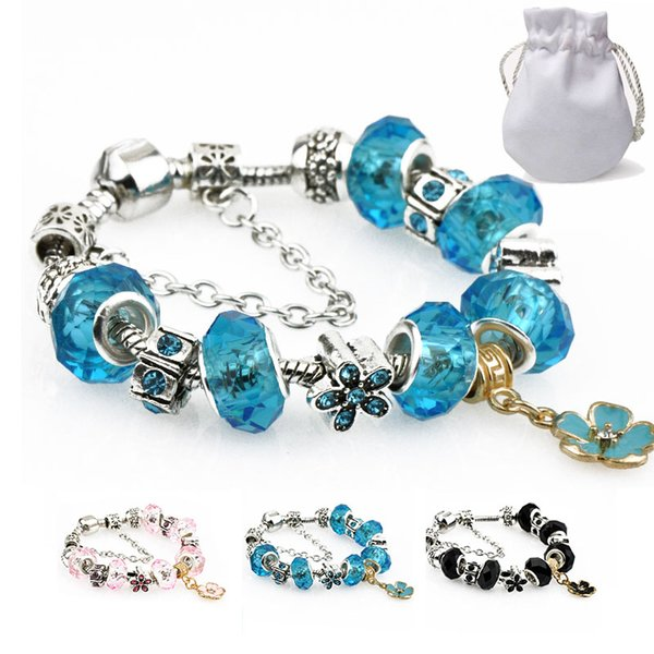 Crystal Beads Charm Bracelets Women Silver Fit Pandora Bangles Pink Black Turquoise Stone Flower Gold Pendant Stainless Steel Jewelry P35
