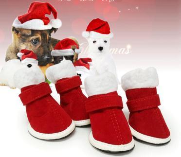 Noel Köpek Ayakkabı Pet Anti-skid Pamuk Çizmeler Kış Sıcak Yavru Teddy Yürüyüş Ayakkabı Seti Başına 4 Adet