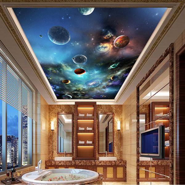 Plafond Murale Moderne 3D Univers Planète Photo Papier Peint Salon Salon Thème Hôtel Plafond Décor Revêtement Mural Papel De Parede 3 D