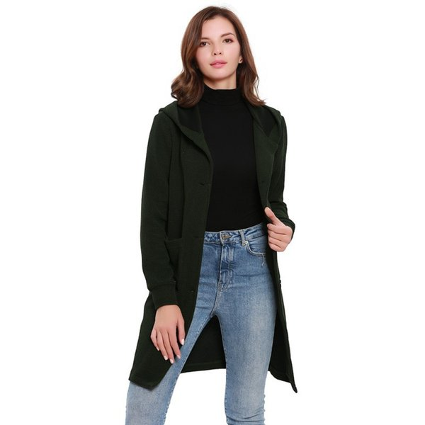 Women Casual Long Sleeve Knitted Cardigan Autumn Winter Fashion Solid Button Jacket Coat Female Cardigan Coat Hooded Outwear