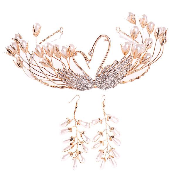 Vintage Gold Swan Pearl Handmade Women Tiara and Crowns Earring Set Wedding Bridal Diadem Headpiece Hair Jewelry Accessories JL