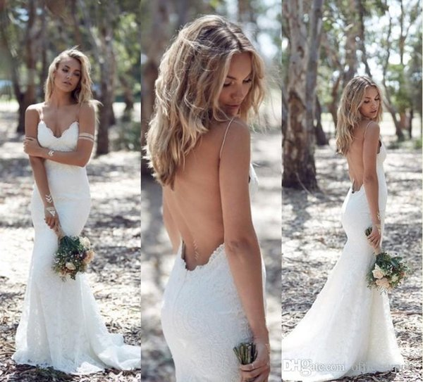 V Neck Spring Summer Country Wedding Dresses Sexy Backless Fit to Flare Country Beac Bridal Gowns Spaghetti Straps Lace Bride Dress