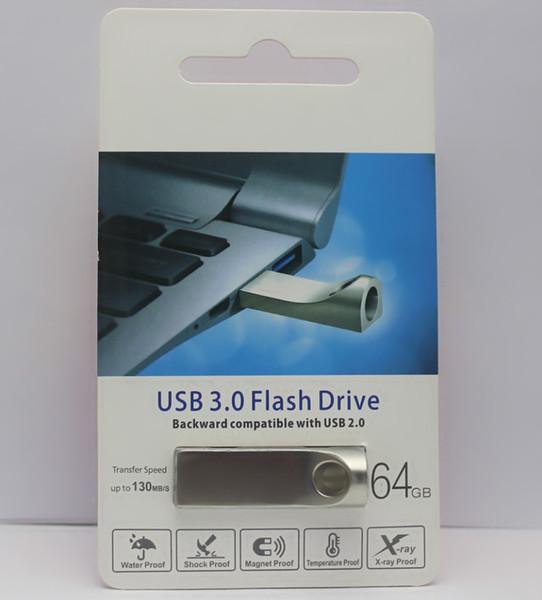 2019 hot metal Flash Drive 16GB 32GB 64GB 128GB Memory Stick USB 3.0-2.0 U disk Drives custom Retail package free DHL