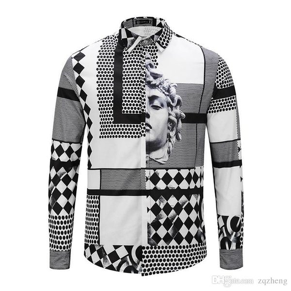 TT 2018 Italy Fashion Brand Male medusa long sleeve shirt men casual shirt floral 3d print color Business Slim Fit Harajuku Silk Shirt