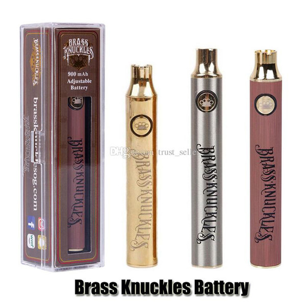top popular Brass Knuckles Battery 650mAh Good 900mAh Wood SS Vape Pen Preheat VV Variable Voltage Usb Charger Battery For 510 Thick Oil Cartridge Tank 2020