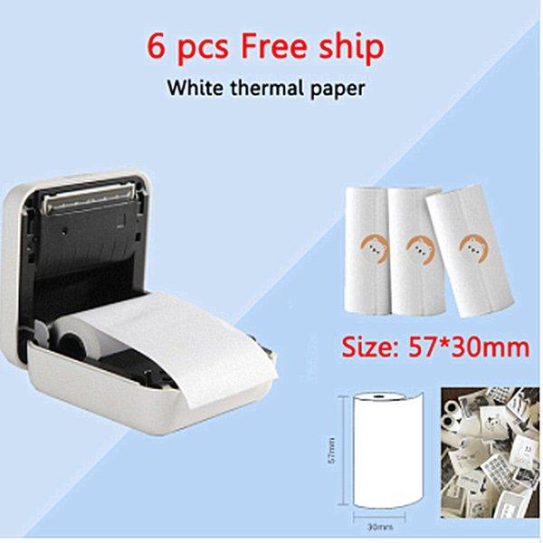 Großhandel Kostenloser Versand Weiß Rosa Blau Gelb Thermopapieraufkleber Papier Aufkleber Für Tragbare Thermo Bluetooth Aufkleber Drucker Von