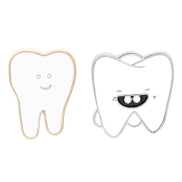 White Cartoon Smile Teeth Enamel Brooches Pin for Nurse Dentist Hospital Lapel Pin Hat/bag Pins Denim Shirt Women Brooch Jewelry