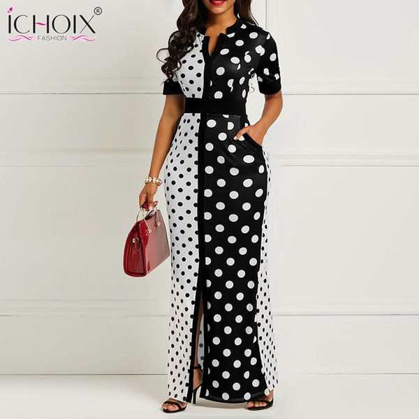 Summer Women Vintage Long Dress Casual Black Polka Dot Maxi Dress Plus Size Office Lady Bodycon Party Dress Vestidos De Festa Y19051001