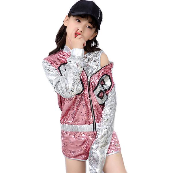 Çocuklar Kızlar için Pullu Hip Hop Giyim Giysi Ceket Kırpma Tankı Üstleri Gömlek Şort Caz Dans Kostüm Balo Salonu Dans Streetwear