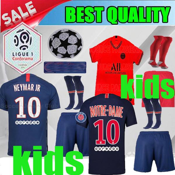 Kit de niños de casa de PSG 2019 MBAPPE VERRATTI JERSEYS DE FÚTBOL 19 20 Paris fuera rojo DI MARIA CAVANI niño 2020 Paris chico azul blanco camiseta de fútbol