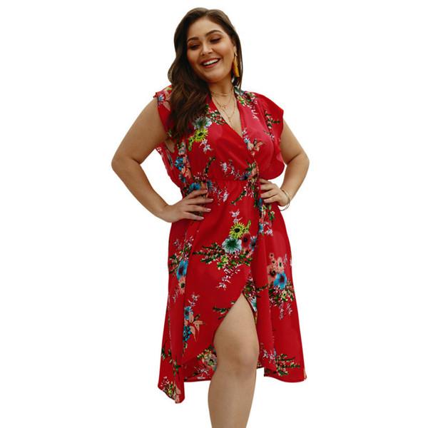 Original Designer Women\'S 2019 Summer Trendy Clothing Plus Size Dress  Sleeveless V Neck Print Red Dress Graduation Dresses Black Dress From Xyzj,  ...