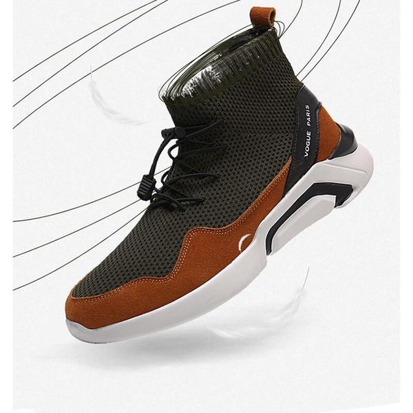 Nuevo Llega Hombre Zapatos casuales Calcetines de punto Botas con cordones Paño elástico Corredor deportivo Negro Transpirable Atlético Streetwear Zapato para caminar