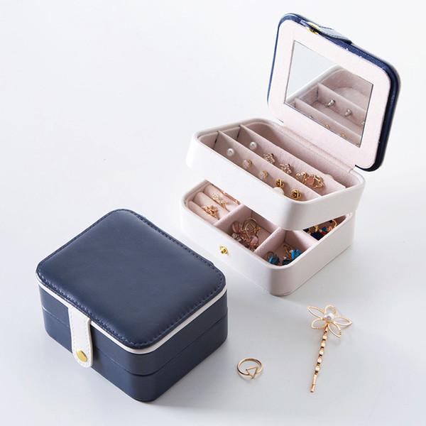 A più strati Jewelry Storage Box portatile Copricapo gioielli contenitore dell'organizzatore orecchini piccoli contenitore di immagazzinaggio 11 * 9 * 6cm