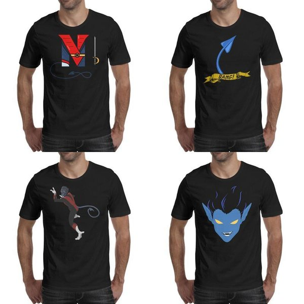 Stampa da uomo Nightcrawler x men Tail BAMF Tatuaggio stile T-shirt nera Divertente Camicie da supereroe Moda classica N spada marvel comic Kurt