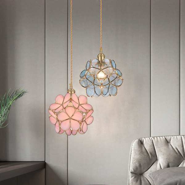 2019 new colored flower pendant light modern LED E27 luxury clear blue pink glass hanging lamp